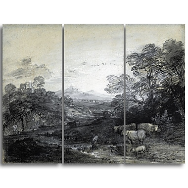 Designart Thomas Gainsborouh, Wooded Landscape with Herdsmen Canvas Art Print, (PT4956-3P)