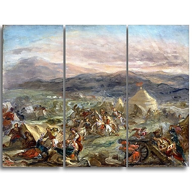 Designart Eugene Delacroix, Botzaris Surprises the Turkish Camp Landscape Canvas Art Print, (PT4365-3P)