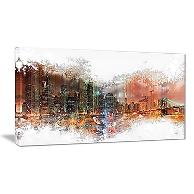 Designart Abstract Night Cityscape Canvas Art Print, 4 Panels, (PT3315-32-16)