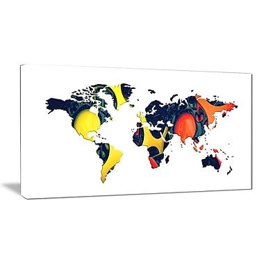 Designart – Carte du monde orange et jaune, imprimé sur toile (PT2722-32-16)