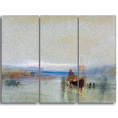Designart JMW Turner, Fishing Boats Becalmed off le Havre Sea & Shore Canvas Art Print, (PT4604-3P)