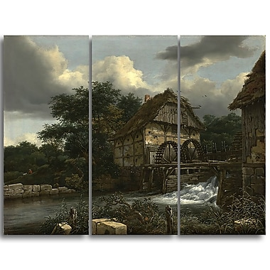 Designart Jacob van Ruisdael, Two Watermills and an Open Sluice Canvas Art Print, (PT4528-3P)