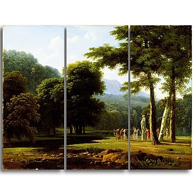 Designart Bertin Jean Victor, Landscape Master Piece Landscape Artwork, (PT4178-3P)
