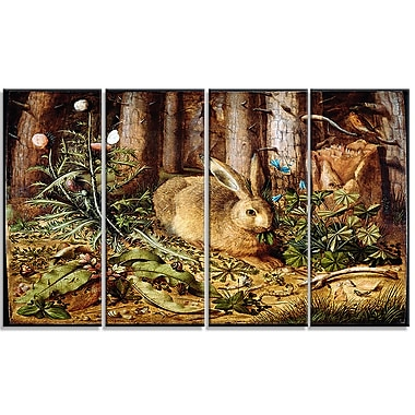 Designart Hans Hoffmann, A Hare in the Forest Canvas Art Print, 4 Panels, (PT4472-271)
