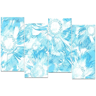 Design Art Blue Flowers 4-Panel Canvas Art Print