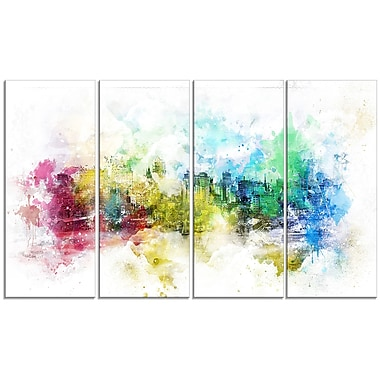 Design Art – Ville couleurs vives, impression sur toile 4 panneaux