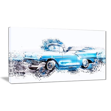 Designart Baby Blue Vintage Car Canvas Art Print, (PT2660-32-16)