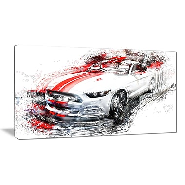 Designart White and Red Sports Car Small Gallery Wrapped Canvas, (PT2613-32x16)
