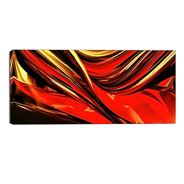Designart Red Lava Ribbons Abstract Canvas Art Print, (PT3031-32-16)