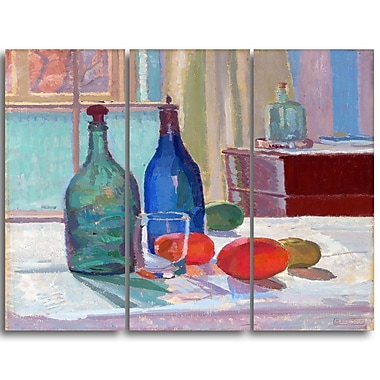 Designart Spencer Frederick, Blue and Green Bottles and Oranges Canvas Art Print, (PT4928-3P)