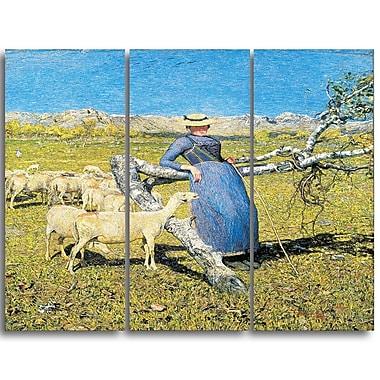 Designart Giovanni Segantini, High Noon in the Alps Canvas Art Print, 3 Panels, (PT4449-3P)