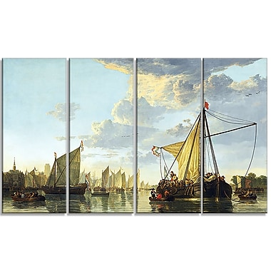 Designart Aelbert Cuyp, A View of the Maas at Dordrecht Canvas Art Print, (PT4107-271)