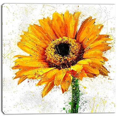 Designart Yellow Sunflower Floral Canvas Art Print, (PT3439-30-30)