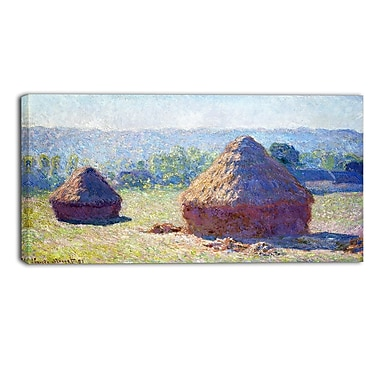 Designart Claude Monet, Haystacks End of Summer Landscape Canvas Arwork, (PT4263-40-20)