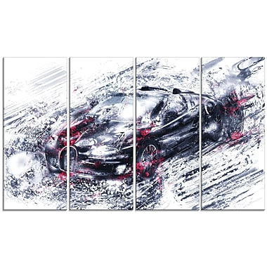 Designart Red and Black Super Car, 4 Piece Gallery-Wrapped Canvas, (PT2643-271)