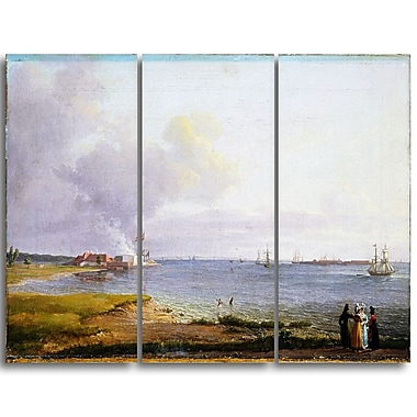Designart – Imprimé sur toile, océan et rivage, View Over Oresund Near the Lime Works, JC Dahl (PT4571-3P)
