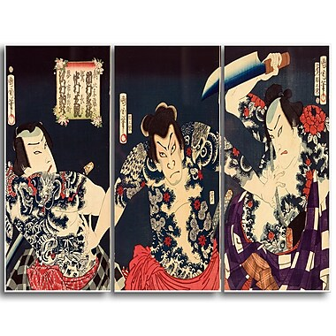 Designart Toyohara Kunichika, The Kabuki Actors Large Asian Canvas Art, (PT4978-3P)
