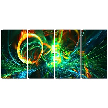 Designart Fire Green 4-Panel Abstract Canvas Art Print, (PT3025-271)