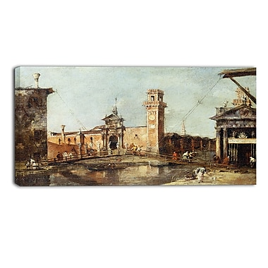 Designart Francesco Guardi, The Entrance to the Arsenal in Venice Sea & Shore Canvas Artwork, (PT4384-32-16)