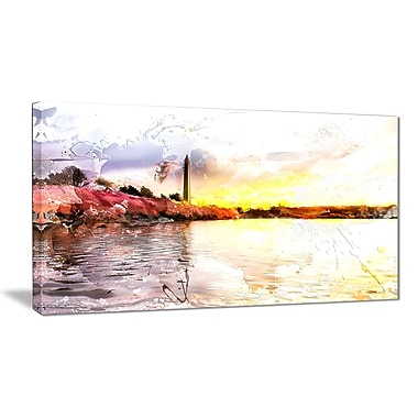 Designart Washington Monument Landscape Large Americana Canvas Art Print, (PT2804-32-16)