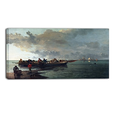 Designart John Crome, A Barge with a Wounded Soldier Canvas Art Print, (PT4637-32-16)