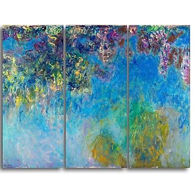 Designart Claude Monet, Wisteria Landscape Canvas Arwork, (PT4251-3P)