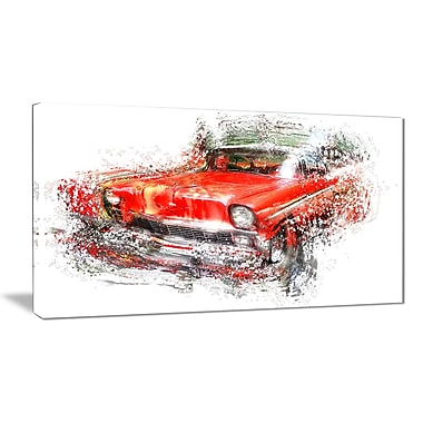 Designart Orange Classic Car Small Gallery Wrapped Canvas, (PT2626-32x16)