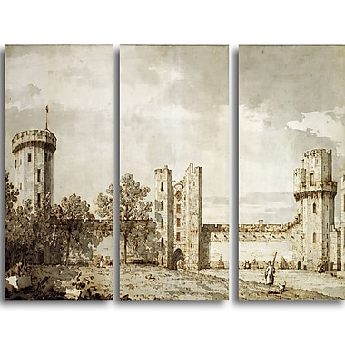 Designart Canaletto, Warwick Castle The East Front Landscape Canvas Arwork, (PT4199-3P)