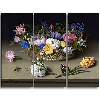 Designart – Nature morte de fleurs par Ambrosius Bosschaert, imprimé sur toile, 4 panneaux (PT4135-3P)