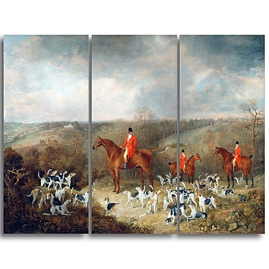 Designart Dean Wolstenholme, Lord Glamis and his Staghounds Landscape Canvas Art Print, (PT4295-3P)