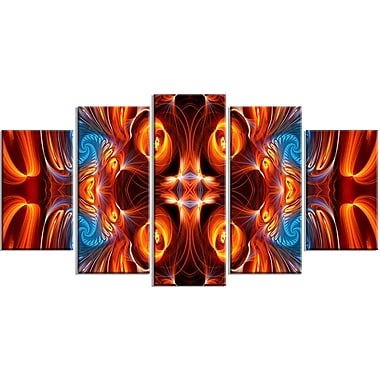 Designart Orange and Blue Mirrored Art 5-Panel Modern Canvas Art Print, (PT3075-373)