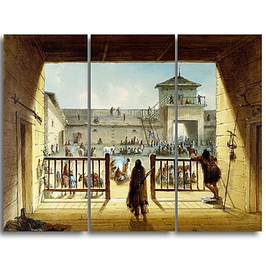 Designart Alfred Jacob Miller, Interior of Fort Laramie Large Landscape Canvas Art Print, (PT4125-3P)