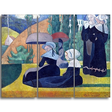 Designart Emile Bernard, Breton Women with Umbrellas Canvas Art Print, (PT4357-3P)