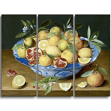 Designart Jacob van Hulsdonck, Still Life with Lemons Canvas Art Print, 4 Panels, (PT4524-3P)