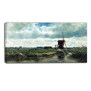 Design Art – Willem Roelofs, Polder Landscape with Windmill, impression sur toile
