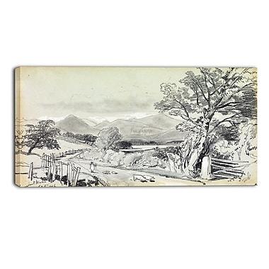 Designart – Imprimé de paysage sur toile, Derwentwater, September 1836, Edward Lear (PT4339-32-16)