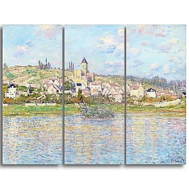 Designart Claude Monet, Vetheuil Landscape Canvas Arwork, (PT4268-3P)
