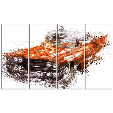 Designart Burnt Orange Classic Car, 4 Piece Gallery-Wrapped Canvas, (PT2652-271)