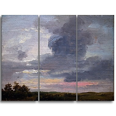 Designart JC Dahl, Cloud Study over Flat Landscape Large Sea & Shore Canvas Art, (PT4576-3P)