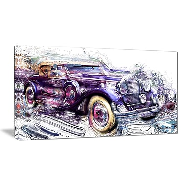 Designart Abstract Vintage Cruiser Car Small Gallery Wrapped Canvas, (PT2605-32x16)