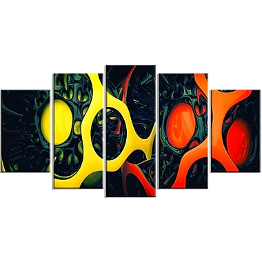 Designart Orange and Yellow Geo Art Contemporary Canvas Art, (PT3059-373)