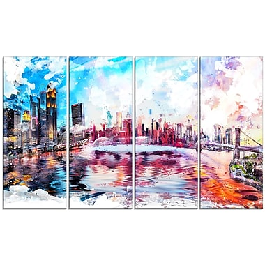 Designart Colourfull NYC Cityscape, Large Americana Canvas Art Print, (PT2811-271)