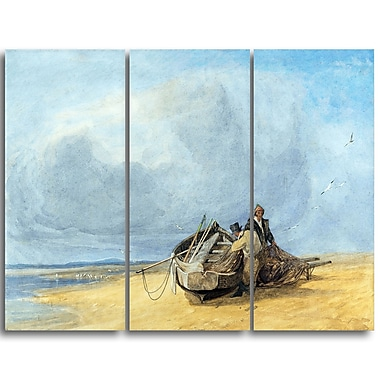 Designart John Sell Cotman, Yarmouth Sands, Norfolk Canvas Art Print, (PT4656-3P)