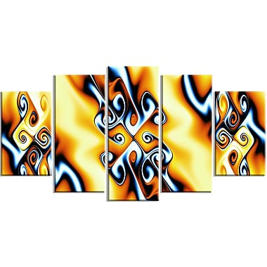 Designart Yellow Squiggles 5-Panel Abstract Canvas Art Print, (PT3087-373)