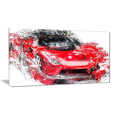 Designart Red Exotic Car Canvas, (PT2634-32-16)