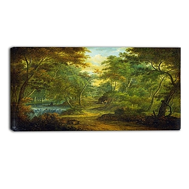 Designart Thomas Smith of Derby, Wooded Landscape with Stream Canvas Art Print, (PT4971-32-16)