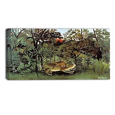 Designart Rousseau, Hungry-Lion Animal Animal Canvas Art, (PT4902-32-16)