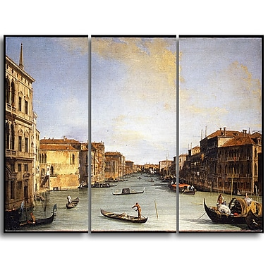 Designart Canaletto, View of the Grand Canal Canvas Art Print, (PT4205-3P)