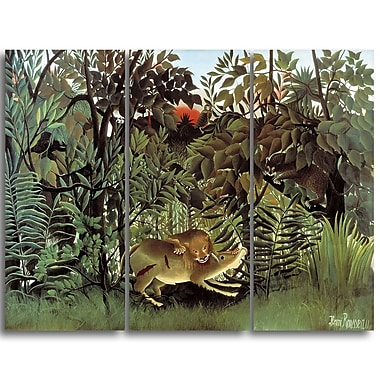 Designart Rousseau, Hungry-Lion Animal Animal Canvas Art, (PT4902-3P)