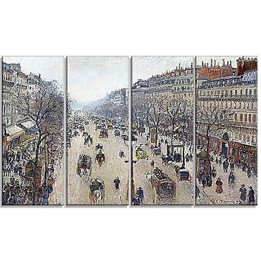 Designart Camille Pissarro, Boulevard Montmartre Landscape Canvas Arwork, (PT4194-271)